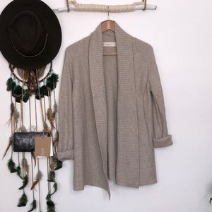 Zara tan wool mix open front cardigan size M